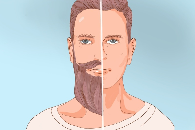 Man's face divided into two parts: one without a beard, the other with a beard