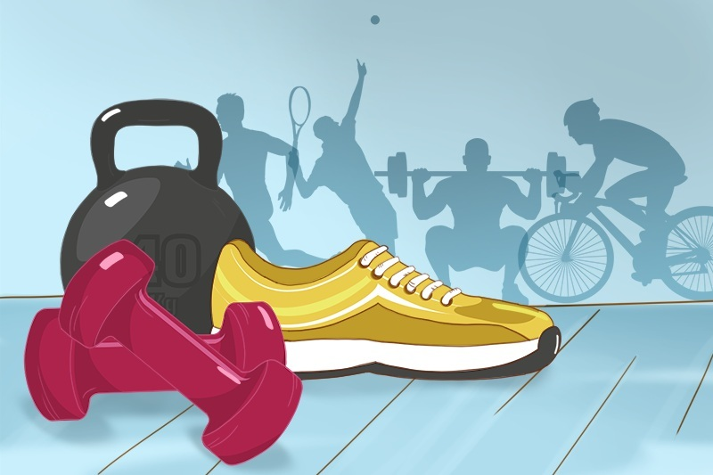 Sneakers, dumbbells and a weight