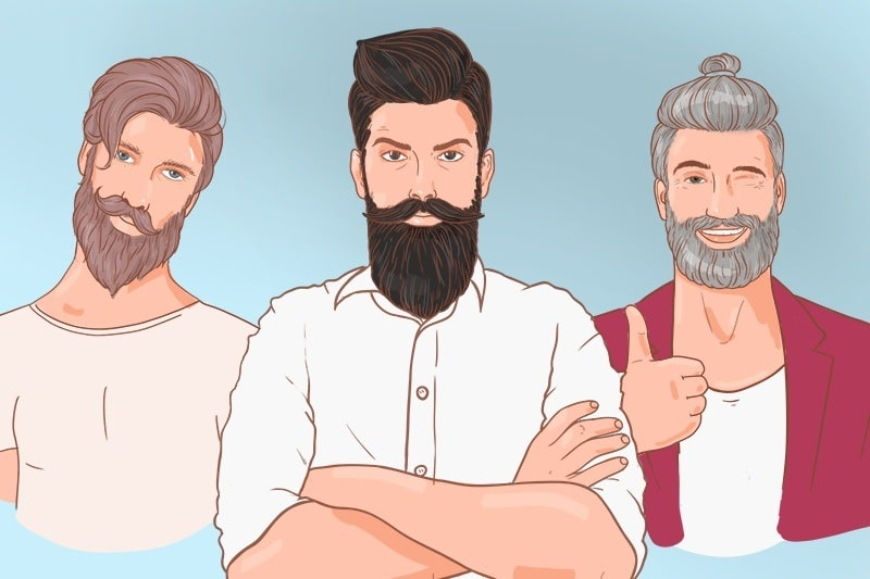 Three men with beards are standing in a row