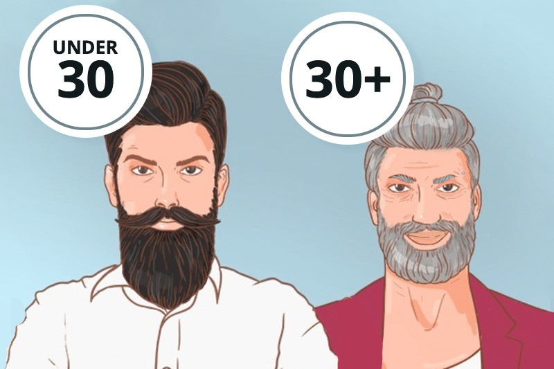 A young man with a long brown beard under 30 and an older man with a short grey beard above 30