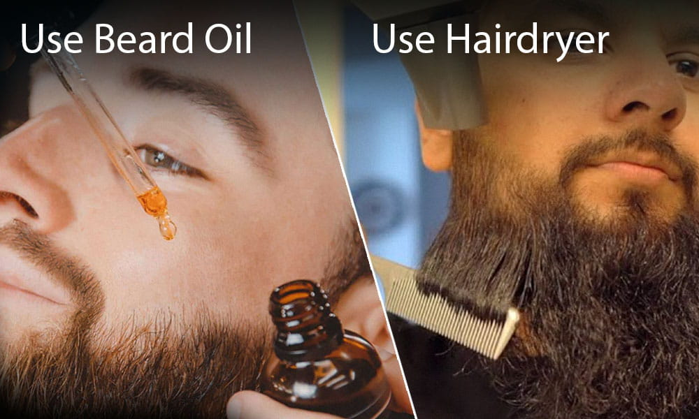 A man using beard oil and hairdryer